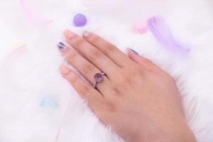 anillo de diamantes de oro 9k foto