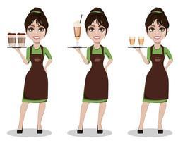 joven y bella mujer barista en uniforme vector