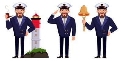 capitán del barco en uniforme profesional vector