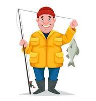 Fisherman funny cartoon character vector