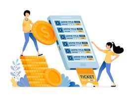 personas que compran entradas para el cine con la aplicación móvil en el teléfono inteligente vector