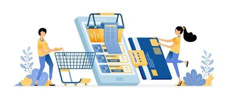 People grocery shopping at online supermarkets with mobile app vector
