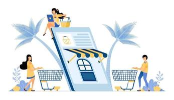 People shopping for daily necessities using on mobile app vector