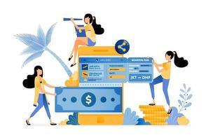 People buying plane tickets online vector