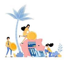 People saving money in piggy banks vector