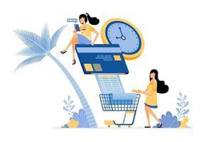 personas que pagan sus facturas de tarjetas de crédito y facturas mensuales de comestibles en línea vector