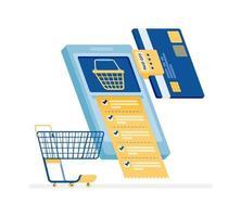 Diseño de icono de concepto de compras en línea de pagos de facturas mensuales vector