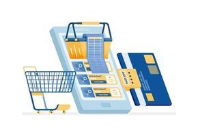 Diseño de icono de pago de facturas de compras con tarjeta de crédito en línea. vector