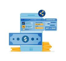 Icon design of buying plane tickets online vector