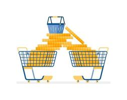 Overspending on shopping concept vector