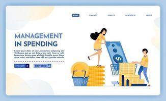 Landing page illustration of management of spending vector
