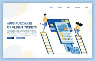 Landing page illustration of apps purchase of flight ticket vector