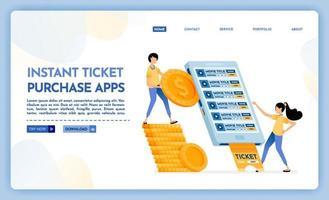 Ilustración de la página de destino de las aplicaciones de compra de billetes instantáneos. vector