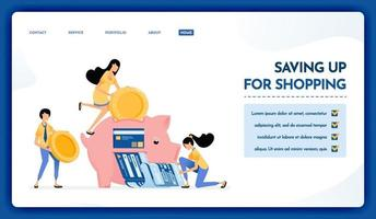 Landing page illustration of saving up for shopping vector