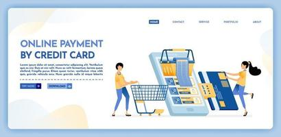 Landing page illustration of online payment by credit card vector