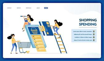 Landing page illustration of shopping and spending money vector