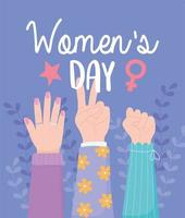 womens day female hands up power together vector