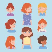 diverse female portraits and faces cartoon vector