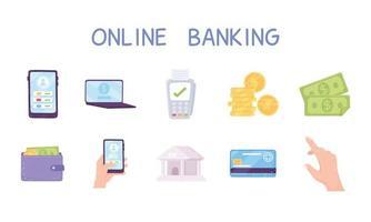 set of online banking bank coins money bills wallet smartphone and laptop vector