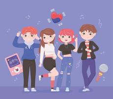 korean idols kpop vector
