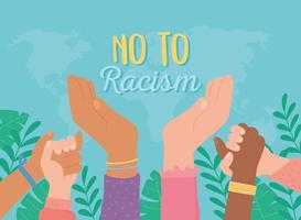 black lives diverse hands raised no to racism vector