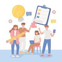 teamwork designers cartoon vector