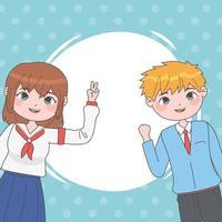 boy girl manga vector