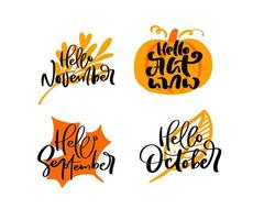 Bundle set of vector calligraphy autumn phrases with autumnal leaves orange background. Hand drawn lettering illustration for greeting card isolated. Perfect for holidays, Thanksgiving Day