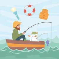 man cat fishing vector