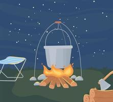 camping night scene vector