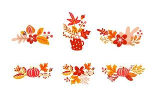 Bundle set of orange autumn leaves bouquets with teapot. Leaves of maple with cup, with pumpkin, with foliage oak, fall nature season poster thanksgiving design vector