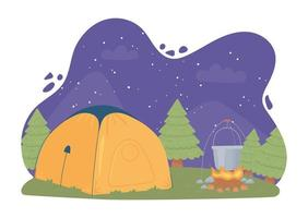 camping tent night vector