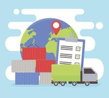 logistic world checkmark vector