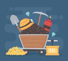mining cart tools vector