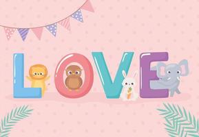 cute animals lettering vector