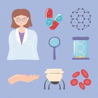 nanotechnology medical set vector