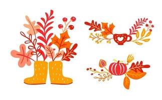 Yellow rubber boots with autumn leaves bouquet. Orange leaves of maple with cup, pumpkin with foliage oak, fall nature season poster thanksgiving design vector