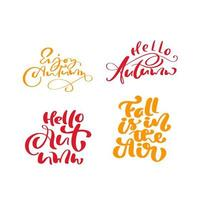 Set of Orange vector lettering calligraphy autumn phrases. Hand drawn illustration for greeting card isolated on white background. Perfect for seasonal holidays, Thanksgiving Day