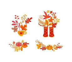 Set of orange autumn leaves bouquets with rubber boots. Orange leaves of maple with cup, with pumpkin, with foliage oak, fall nature season poster thanksgiving design vector