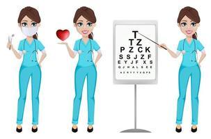 Ophthalmologist woman. Medicine concept. vector