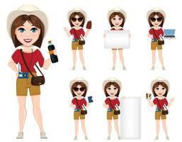 Tourist woman, traveler. Set of cute cartoon character vector