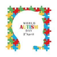 día de concientización sobre el autismo silueta cabeza niño rompecabezas antecedentes vector