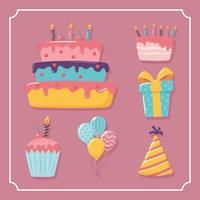 set happy birthday vector