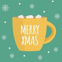 feliz navidad fondo con chocolate caliente vector