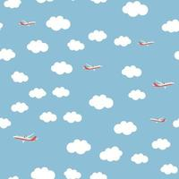 Flying airplane and clouds seamless pattern background vector