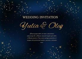 Wedding Invitation with Night Sky and Stars Background vector