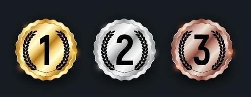 Gold silver and bronze medal Badge of the icon First second and third place vector