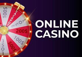 Online Casino Background Poster with Wheel of Fortune vector