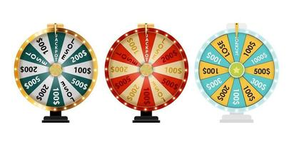 Wheel of Fortune Lucky Icon collection vector