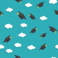 Graduarion Education Seamless Pattern Background vector